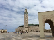 Hassan II Mosque holds 25,000 people inside and 80,000 people outside.